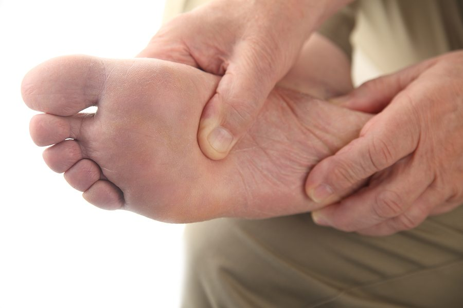 close up of the bottom of a man's foot ** Note: Shallow depth of field