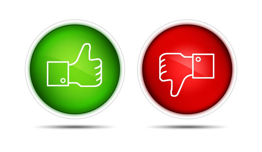 lIllustration of the thumb up and thumb down buttons. Isolated on white.