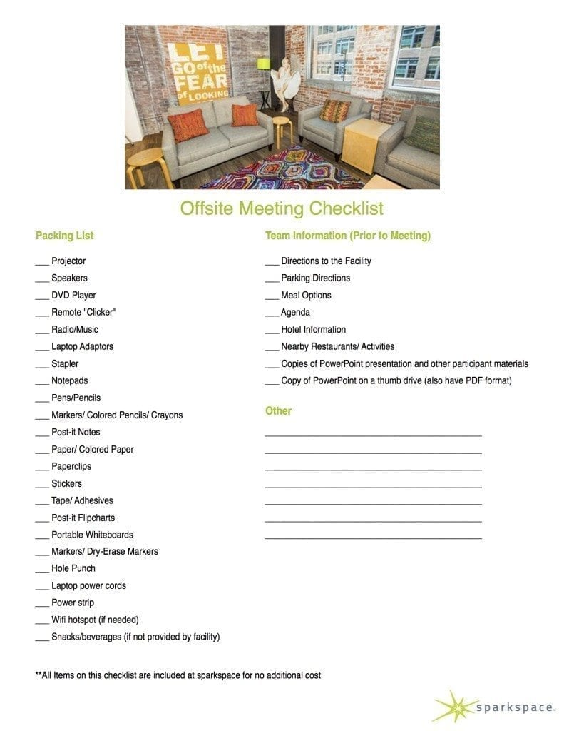 Offsite Meeting Checklist